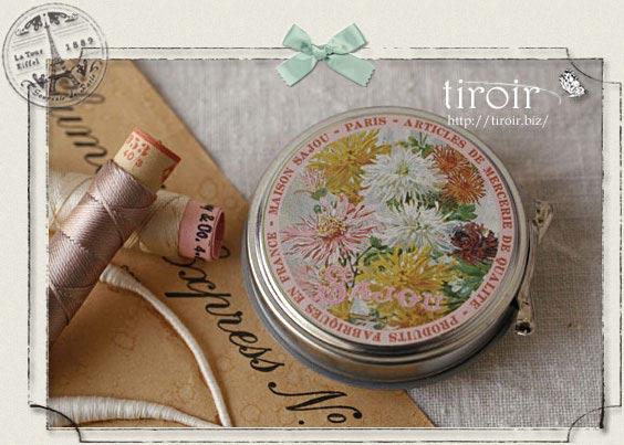 サジュー Sajouの手芸 ボタンが入ったティン缶【Flower】