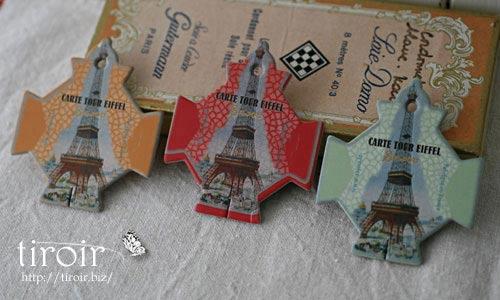 シンボリックなエッフェル塔が6色で描かれた、サジュー Sajouの糸巻き