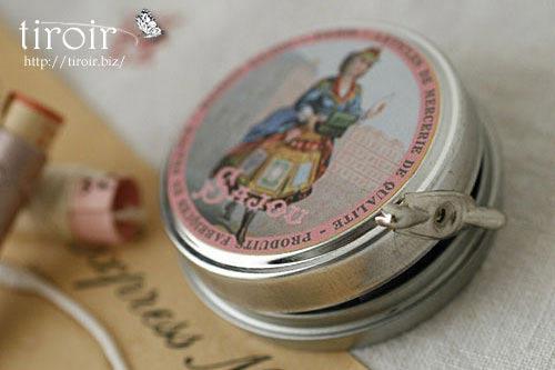 サジュー Sajouの繭玉の縫い糸が入ったティン缶【Domfront】