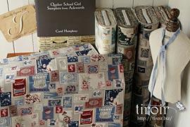 綿麻生地|カルトナージュにぴったりな綿麻【Timbre et Chandelle】切手柄 全6色